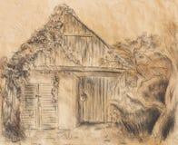 Σχέδιο χεριών εξοχικών σπιτιών και άγρια άμπελος Draving σε παλαιό χαρτί Στοκ Φωτογραφίες