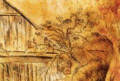 Σχέδιο χεριών εξοχικών σπιτιών και άγρια άμπελος Draving σε παλαιό χαρτί Στοκ εικόνα με δικαίωμα ελεύθερης χρήσης