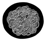 Σχέδιο χεριών μακαρονιών Doodle Στοκ εικόνα με δικαίωμα ελεύθερης χρήσης
