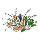 Σχέδιο χεριών μιας ανθοδέσμης των λουλουδιών εγγράφου με τη διανυσματική απεικόνιση καραμελών Στοκ Φωτογραφία