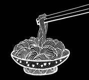 Σχέδιο χεριών νουντλς Doodle Στοκ Φωτογραφία