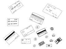 Σχέδιο χεριών πιστωτικών κάρρων Στοκ Φωτογραφίες