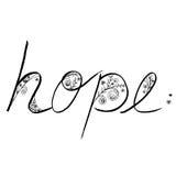 Σχέδιο χεριών τέχνης γραμμών ελπίδας με τη χλωρίδα σε γραπτό Στοκ Εικόνα