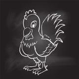 Σχέδιο χεριών του κόκκορα στο μαύρο πίνακα - διανυσματική απεικόνιση Στοκ Φωτογραφίες