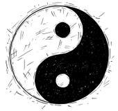 Σχέδιο χεριών του συμβόλου Yin Yang Jin Jang Στοκ εικόνα με δικαίωμα ελεύθερης χρήσης