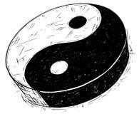 Σχέδιο χεριών του συμβόλου Yin Yang Jin Jang Στοκ Φωτογραφίες