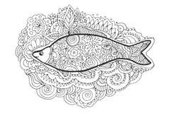 Σχέδιο χεριών zentangle Διακοσμητική, αφηρημένη ουρά ψαριών γραφική απεικόνιση χρωματισμού βιβλίων ζωηρόχρωμη Στοκ εικόνα με δικαίωμα ελεύθερης χρήσης