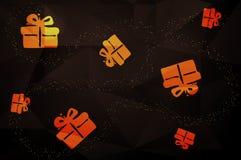 Σχέδιο Χριστουγέννων που γίνεται από τα χρυσά παρόντα κιβώτια στο Μαύρο Στοκ Εικόνα