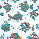 Σχέδιο ψαριών στο αφηρημένο ύφος Τετράγωνο αντιγράφων στην πλευρά και το you Στοκ Εικόνες