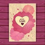 Σχέδιο ύφους Zen -Zen-doodle και πλαίσιο καρδιών στην μπεζ πασχαλιά με το λεκέ watercolors Στοκ Φωτογραφία