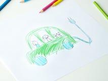 Σχέδιο Childs του φιλικού προς το περιβάλλον αυτοκινήτου Στοκ εικόνα με δικαίωμα ελεύθερης χρήσης