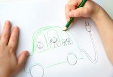 Σχέδιο Childs του φιλικού προς το περιβάλλον αυτοκινήτου Στοκ εικόνες με δικαίωμα ελεύθερης χρήσης