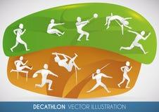 Σχέδιο Decathlon με όλα τα γεγονότα στίβου, διανυσματική απεικόνιση Στοκ Εικόνα