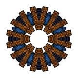 Σχέδιο Mandala στις σκιές μπλε, πορτοκαλής, άσπρος Στοκ φωτογραφία με δικαίωμα ελεύθερης χρήσης