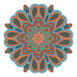 Σχέδιο Mandala doodle Ζωηρόχρωμη floral στρογγυλή διακόσμηση Στοκ Φωτογραφίες