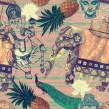 Σχέδιο Samless στο εκλεκτής ποιότητας ύφος με Ινδό Στοκ Εικόνα