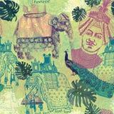 Σχέδιο Samless στο εκλεκτής ποιότητας ύφος με Ινδό Στοκ εικόνες με δικαίωμα ελεύθερης χρήσης