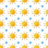 Σχέδιο watercolor ηλιοφάνειας Χαριτωμένος ήλιος χαμόγελου Χρωματισμένη χέρι απεικόνιση Στοκ Εικόνες