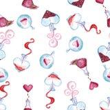 Σχέδιο Watercolor μαγισσών della αγάπης στην ημέρα των εραστών Στοκ Εικόνες