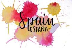 Σχέδιο Watercolor του εμπορικού σήματος Ισπανία απεικόνιση αποθεμάτων