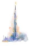 Σχέδιο Watercolor του πύργου Burj Khalifa στο Ντουμπάι Στοκ Φωτογραφία