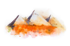 Σχέδιο Watercolor των πυραμίδων Giza, βασίλισσες Pyramids στην Αίγυπτο Στοκ Εικόνα