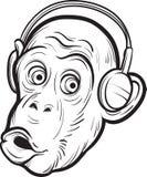 Σχέδιο Whiteboard - έκπληκτος χιμπατζής με τα ακουστικά ελεύθερη απεικόνιση δικαιώματος