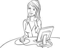 Σχέδιο Whiteboard - χαμογελώντας επιχειρησιακή γυναίκα με την κάσκα απεικόνιση αποθεμάτων