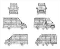 Σχέδιο Wireframe Van car Στοκ Εικόνα
