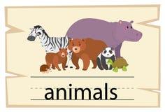 Σχέδιο Wordcard για τα ζώα λέξης απεικόνιση αποθεμάτων