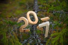 Σχήματα 2017 για τον κλάδο έλατου στο δασικό θέμα Χριστουγέννων Τ Στοκ Φωτογραφία