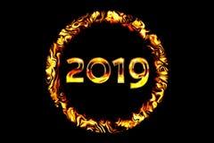 Σχήματα 2019 στην πυρκαγιά δαχτυλιδιών σε ένα μαύρο υπόβαθρο Χρυσός ναρκωμένος απεικόνιση αποθεμάτων