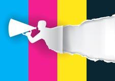 Σχίζοντας έγγραφο ατόμων προώθησης με τα χρώματα τυπωμένων υλών διανυσματική απεικόνιση