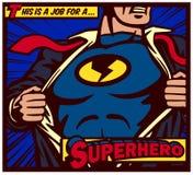 Σχίζοντας πουκάμισο superhero ύφους comics λαϊκός-τέχνης και φθορά της διανυσματικής αφίσας κοστουμιών διανυσματική απεικόνιση