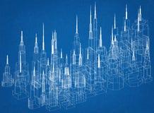 Σχεδιάγραμμα αρχιτεκτόνων έννοιας κτηρίων Στοκ φωτογραφία με δικαίωμα ελεύθερης χρήσης