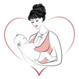 Σχεδιάγραμμα μιας γλυκιάς κυρίας Σκιαγραφία του κοριτσιού, κρατά το μωρό στα όπλα της Μια νέα και όμορφη γυναίκα happy motherhood απεικόνιση αποθεμάτων