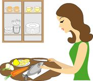 Σχεδιάγραμμα μιας όμορφης γυναίκας Το κορίτσι προετοιμάζει τα τρόφιμα, καθαρίζει τα ψάρια Μια γυναίκα είναι καλή σύζυγος και τακτ διανυσματική απεικόνιση