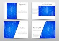 Σχεδιάγραμμα προτύπων φυλλάδιων ορθογωνίων, κάλυψη, ετήσια έκθεση, περιοδικό A4 στο μέγεθος με τη γραφική παράσταση τριγώνων αφηρ Στοκ Εικόνες