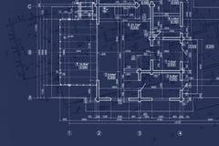 Σχεδιάγραμμα σπιτιών στο γραφείο αρχιτεκτόνων, τα σχέδια εφαρμοσμένης μηχανικής και το pla στοκ φωτογραφίες