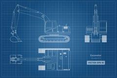 Σχεδιάγραμμα του εκσκαφέα στο άσπρο υπόβαθρο Τοπ, δευτερεύουσα και μπροστινή άποψη Digger diesel Υδραυλική εικόνα μηχανημάτων ελεύθερη απεικόνιση δικαιώματος