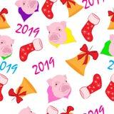 Σχεδιάστε ένα άνευ ραφής σχέδιο για το νέο έτος του χοίρου διανυσματική απεικόνιση