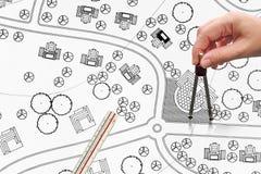 Σχεδιαγράμματα σχεδίων τοπίων για το συγκρότημα κατοικιών στοκ φωτογραφίες με δικαίωμα ελεύθερης χρήσης