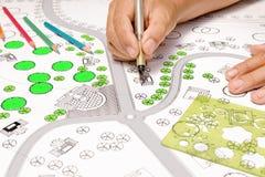 Σχεδιαγράμματα σχεδίων τοπίων για το συγκρότημα κατοικιών στοκ φωτογραφία
