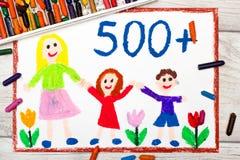 Σχεδιασμός: Κοινωνική πολιτική στην Πολωνία - κοινωνικό πρόγραμμα για να υποστηριχθούν οι οικογένειες 500 PLN για το δεύτερο και  διανυσματική απεικόνιση