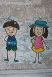 Σχεδιασμός με το αγόρι και το κορίτσι Στοκ Εικόνες
