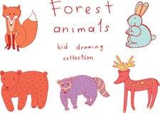 Σχεδιασμός παιδιών των ζώων Συλλογή Doodle του αστείου χρωματισμού Στοκ Εικόνες