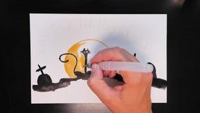 Σχεδιασμός της προωθητικής εικόνας τέχνης αποκριών με τα διαφορετικά χρώματα των μελανιών, timelaps απόθεμα βίντεο