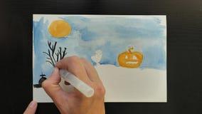 Σχεδιασμός της προωθητικής εικόνας τέχνης αποκριών με τα διαφορετικά χρώματα των μελανιών, timelapse, εποχή πωλήσεων φιλμ μικρού μήκους