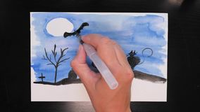 Σχεδιασμός της προωθητικής εικόνας τέχνης αποκριών με τα διαφορετικά χρώματα των μελανιών, timelapse, εποχή πωλήσεων απόθεμα βίντεο
