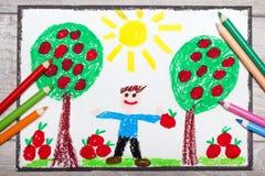 Σχεδιασμός: το νέο, χαμογελώντας άτομο κρατά τα μήλα Στοκ φωτογραφίες με δικαίωμα ελεύθερης χρήσης
